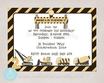 Construction Invitation / Little Digger Invitation / Builder Invitation