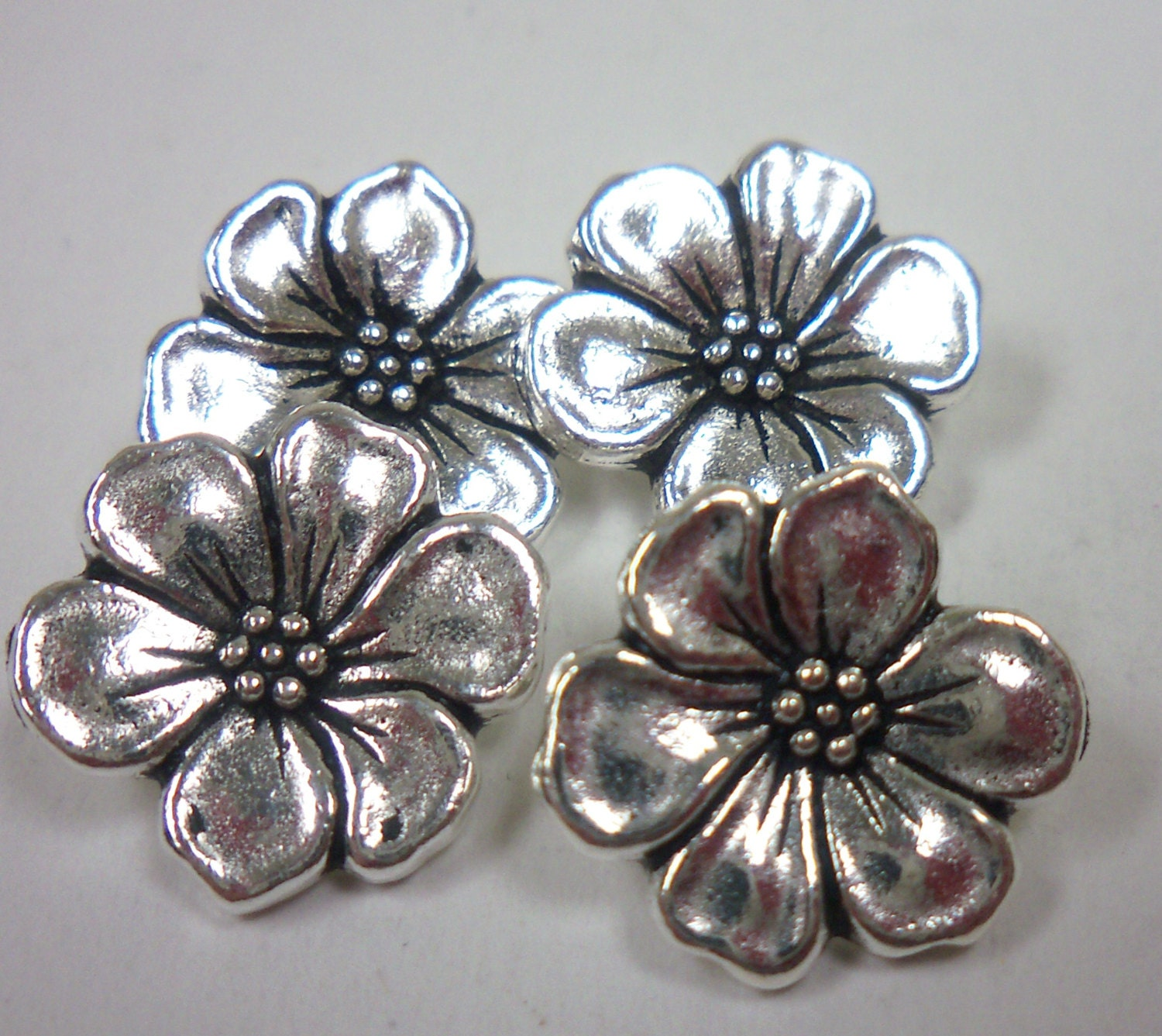 Jewelry making supplies tierracast pewter apple blossom button for Earring supplies for jewelry making