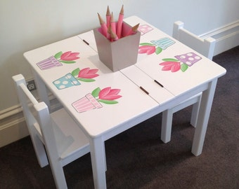 Desk and Chair Set - Tulip, Table and Chair Set, Children' s Furniture, Girls Desk, Girls Furniture, Child's Play Table,  Handmade Table