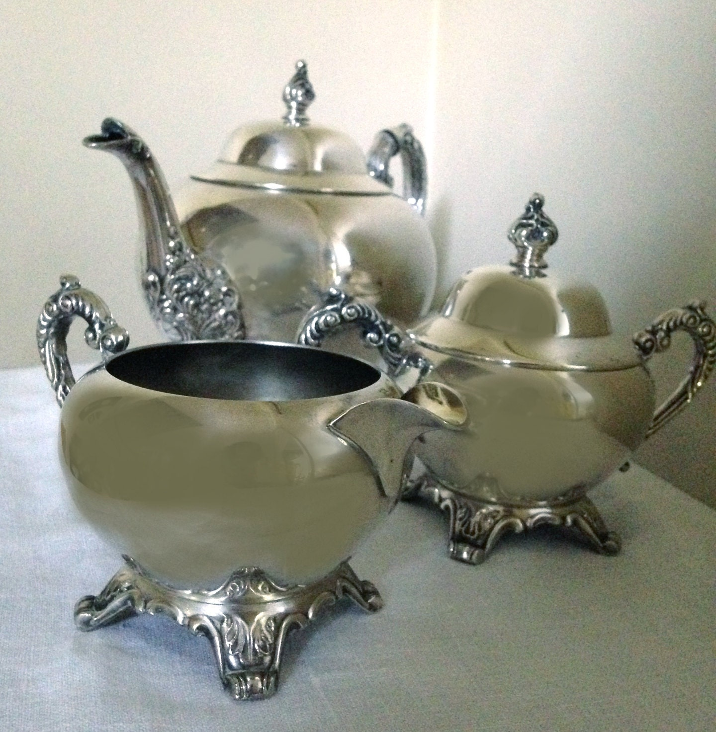 Wm A Rogers Silver Plate Marks: RESERVED FOR JANIE Wm A Rogers Silver Plated Teapot W/Creamer