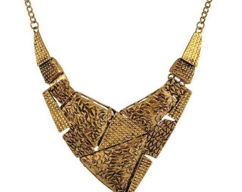 Trendy Cleopatra style antique gold  statement necklace