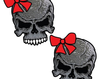 Metal looking Skull with RED BOW Vinyl Window Die Cut Decal Sticker Girl Lady Chick