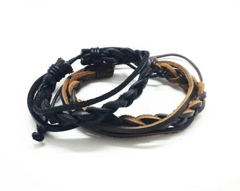 Leather Bracelets with Double Strings ( Please select BLACK OR BROWN)