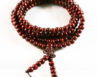 Tibetan 216 Round 6mm Darkred Sandalwood Buddhist Prayer Beads Mala Bracelet