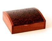 Wooden Domed Box - Australian Rare Jarrah Burl - Hand-made Unique Elegant Jewelry Jewellery Storage Display & Organisation - DOM
