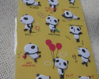 My Little Panda Friends - Panda Puffy Sticker/korean stickers/cute Panda sticker