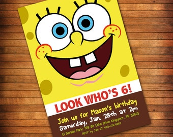 SpongeBob Invitation, SpongeBob Birthday Invitation, SpongeBob Party, Sponge Bob Invitation, SpongeBob Squarepants Invite - PRINTABLE