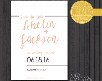 Printable 5x7 Line Elements and Cursive Wedding Customizable Save the Date