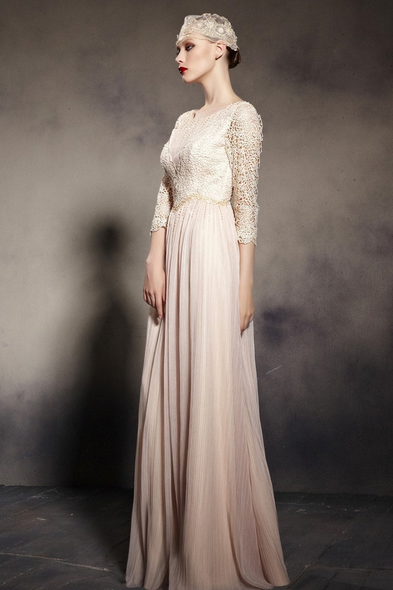 3/4 Sleeve Cream Wedding Dress