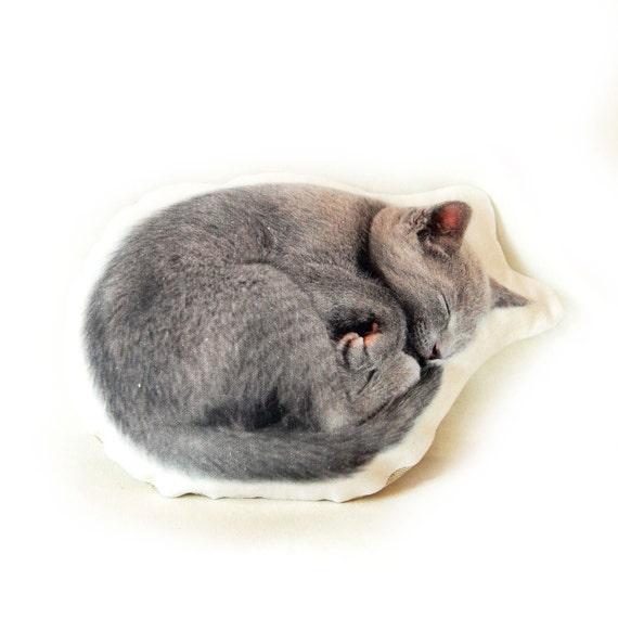GREY CAT Linen pillow cushion, animal cushion, animal pillow, decorative pillow, linen throw pillow