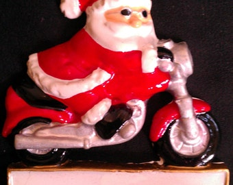 Santa on Motorcycle Personalized Ornament