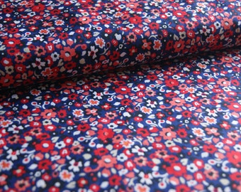 """Floral printed cotton lawn. 58"""" wide, navy blue, orange, red and cream."""