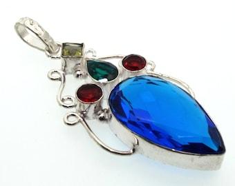 Blue Andara Crystal Tibetan Silver Pendant Design 4
