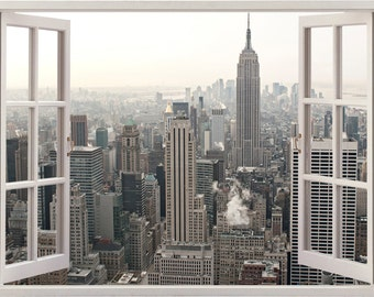 New york wall sticker 3D window, New york wall decal NY for home decor,  colorful NYC city skyline buildings wall art home decoration [058]