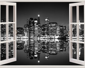 New York Skyline Wall Sticker 3D Window Black And White, New York Wall  Decal NY Part 22