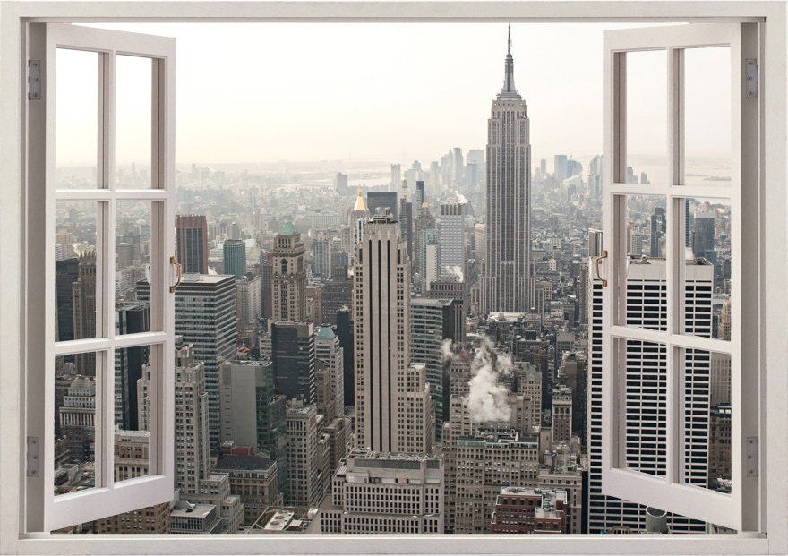 New York Wall Sticker D Window New York Wall Decal NY For - 3d window wall decals