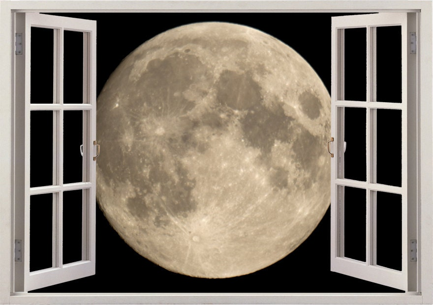 Moon Wall Sticker 3D Window Moon Wall Decal For Home Decor