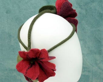 Red Flower Crown - Ozma Flower Crowns - Hand Felted Merino Wool - Circlet - Headpiece - Fairy - Stems
