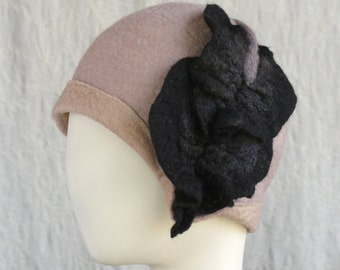 Gray Cloche - Cloche with Flower - Hand Felted Merino Wool - Leaf - Flower - Hat - Black Flower - Cloche
