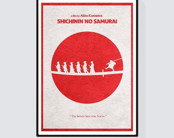 Seven Samurai (Shichinin no samurai) Minimalist Alternative Movie Print & Poster