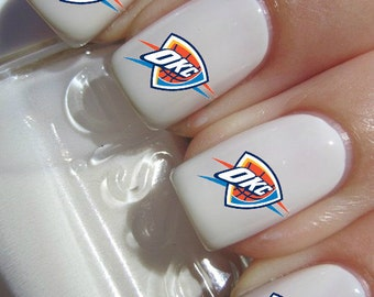 Okc Oklahoma City Thunder NBA Baske tball nail decals tattoos nail art