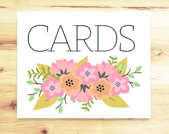 Floral Cards Sign -- Printable Wedding -- INSTANT DOWNLOAD