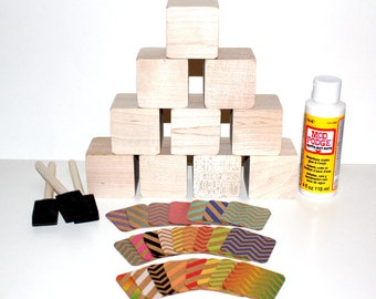 Chevron Baby Decor - DIY Wooden Baby Block Kit - Baby Shower Craft - 2 Inch Wooden Blocks