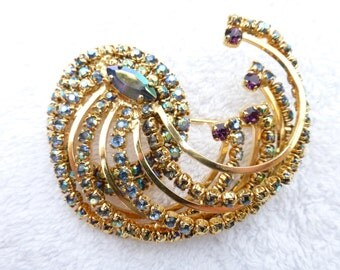 De Liguoro gold plated brooch with red, blue and gold aurora borealis rhinestone swirl AB11