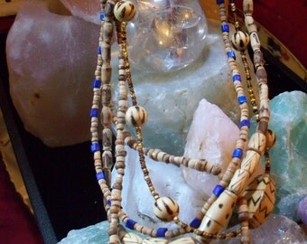 3 Strand wood and glass beaded Necklace