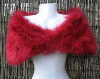 Dark Red Marabou Feather Shrug / Stole / Shrug - One Size