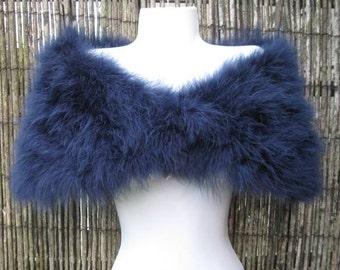 Navy Blue Ink Marabou Feather Shrug / Stole / Shrug - One Size