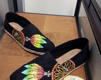 Toms Shoes Customized Dream Catcher Feathers Multi-Color