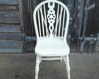 Cream Farmhouse Wheel Topped Spindle Back Chair