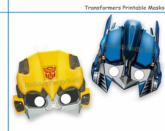 Unique 2 Transformers Printable Masks, party decoration, kids dress up mask, photo booth props, rescue bots, boys costume, robot, Diy paper