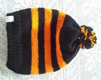 Black and Orange Men's Hat with Three Stripes & Pompom