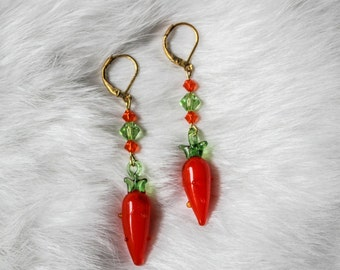 Glass Carrot Earrings