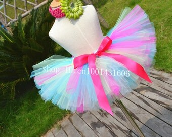 Birthday party Tutu hot pink and  peak green toddler tutu baby girl skirts wedding dressy