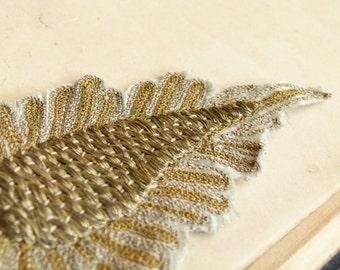Incredible antique gold passementerie applique. gold bullion embroidery center, silver & gold thread, vintage wedding, gatsby