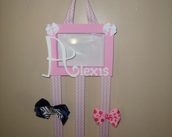 Personalized wood box picture frame bow holder. Holds all your bows, or head bands. Personalized name