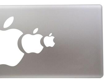 White apple eating apple vinyl sticker. For Mac Book/Air/Retina laptops. Printed in Australia