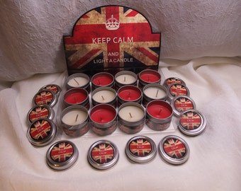 "12 pcs set  Scented Candles - ""Keep calm and light a candle"" - in a box"