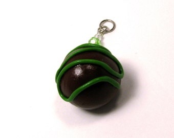 Sale! Green Wave Truffle Charm, Miniature Food Jewelry, Chocolate Pendant Gift, polymer clay