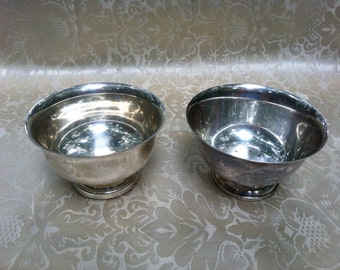 2 silver plated small bowls, one marked Wm Rogers Paul Revere Reproduction.