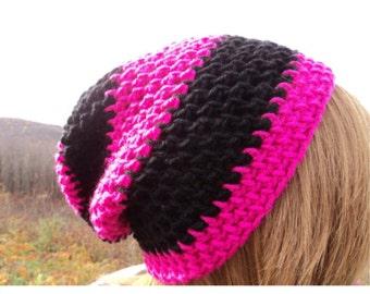 Crochet Beanie, Hipster Beanie, Slouchy Beanie, Pink Beanie, Striped Beanie, Crochet Hat, Crochet Hipster Beanie