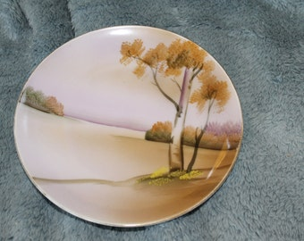 Meito Fine China, Hand Painted in Japan, Decorative Plate, Home Decoration, China, Asian Scenery, Trees and Bushes