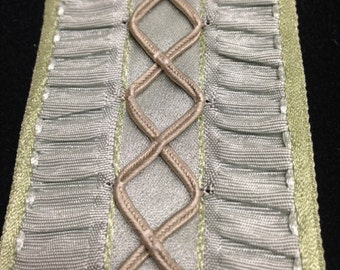 Vintage French 2-inch Wide Ribbon with Ruched Sides and Latticework Center