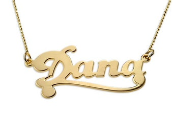 Any Name Personalized Name Necklace in 24k Gold Plated