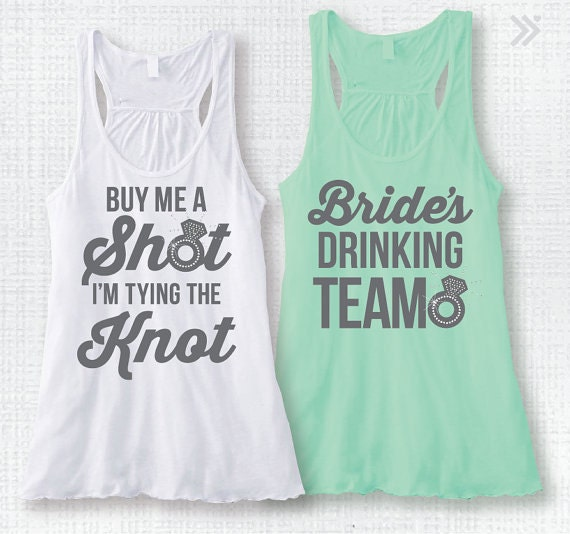 Bachelorette party tank top bridal party tank top rhinestone for Bridal shower t shirt sayings