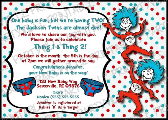 Delightful Thing 1 Thing 2 Baby Shower Invitation
