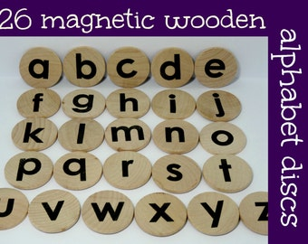 Wooden magnetic Alphabet discs, alphabet magnets, magnetic letters, Montessori wooden alphabet magnets, lowercase letter magnets